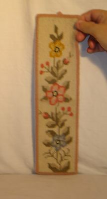 Vintage Hand Hooked Floras  100% Wool Floral Wall Hanging
