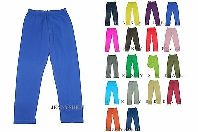 Made In Us Girls Cotton Spandex Full Length Legging Slim Pants 2 4 6 8 10 12 14