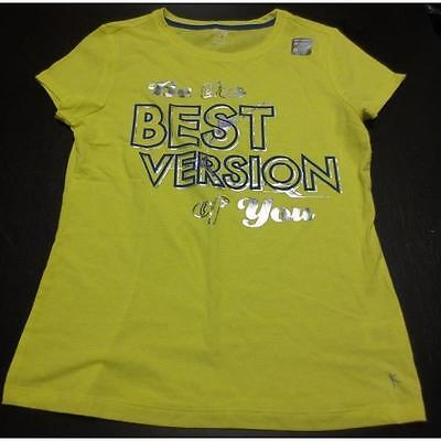 "Girl's Graphic Tee, X-Large (14-16), Power Yellow ""Best Version Of You"" Danski"