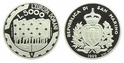 1999 San Marino Large silver Proof 5000 L European Union