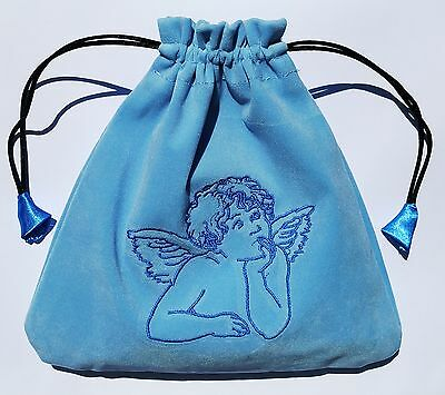 Blue Angel Velvet Tarot Drawstring Bag Lined large