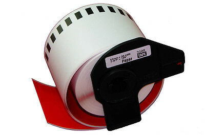 1 ROLL RED DK22205 DK 22205 BROTHER COMPATIBLE CONTINUOUS LABELS 62mm x 30.48m