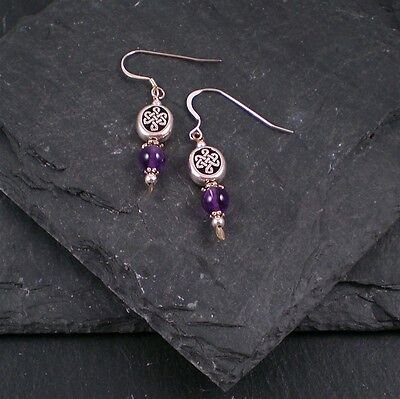 Celtic Oval Knot Earrings with Amethyst Ireland with Sterling Silver