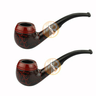 2X Vintage Wooden Smoking Pipe Durable Classic Tobacco Cigarettes Cigar Pipes