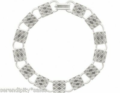 """5 ea 8"""" length SQUARE Silver Plated BRACELET Blank Form w/ 10mm Textured pads"""