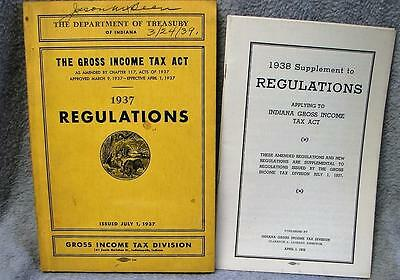 1937 Indiana Department Treasury Gross Income Tax Regulations