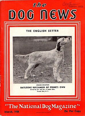 Vintage Dog News Magazine March 1938  English Setter Cover