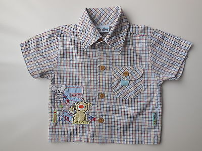 Little Home Baby Boy Check Short Sleeve Shirt Size 00 Fits 3-6 mths