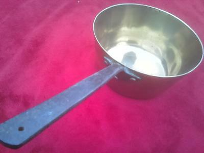 Sturdy heavy brass vintage saucepan sauce pan with riveted steel handle 7.5 inch