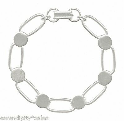 6 SILVER Plated BRACELET Blanks Forms ~ Oval Links w/ 6 Round Disks / Pads
