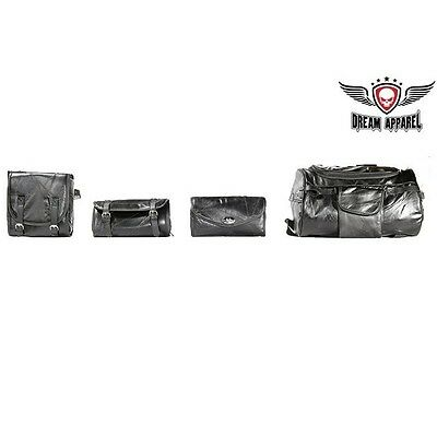 Black Motorcyle SISSY WINDSHIELD TOOL TRAVEL LUGGAGE BAGS 4 PC For Honda