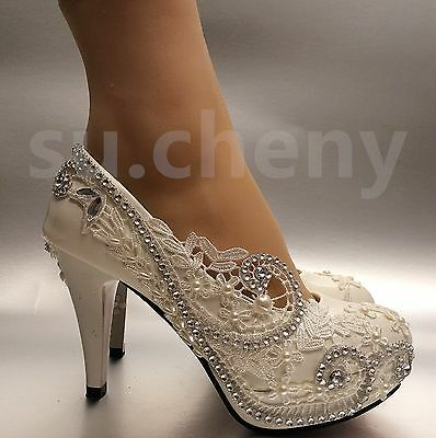 "3""/4"" white light ivory lace crystal Wedding shoes Bridal heels pumps size 5-11"
