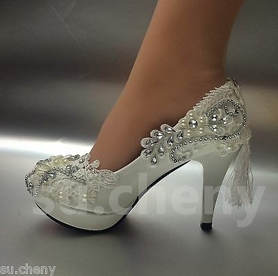 "3 / 4"" white light ivory lace crystal Wedding shoes Bridal heels pumps size 5-11"