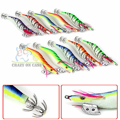 10x Assorted Lumo Body Squid Jigs Jig Fishing Tackle lures Bait Hooks Size #3 OZ
