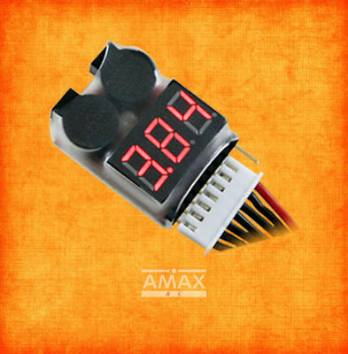 A8S Akku Low Voltage Warner Buzzer Alarm Pieper Tester Checker LED LiPo 2S-8S