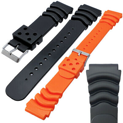 Black Orange Rubber Divers Watch Strap Band Seiko Z18 Z20 Z22 18mm 20mm 22mm