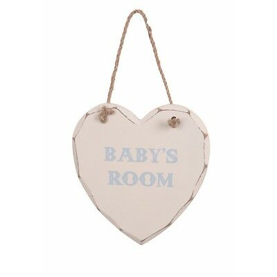 Nursery Decoration - Shabby Chic Wooden Heart Decoration - Baby Boy