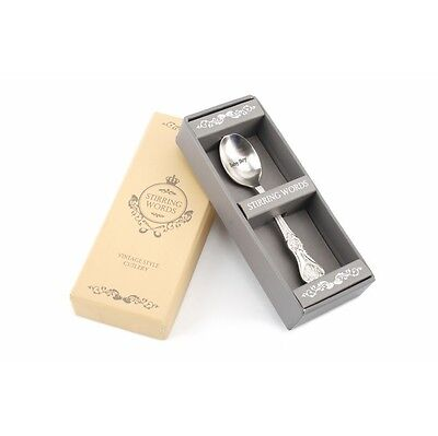 Tea Spoon - Stirring Words Vintage Style Teaspoon For Baby Boy in A Gift Box