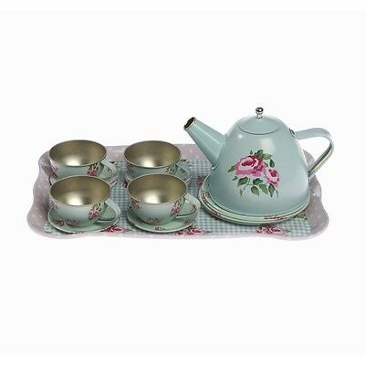 Toy Tea Set -Sass & Belle Child's Imaginary Play Blue Tin Tea Set In Carry Case