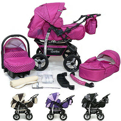Baby Pram Stroller Pushchair + Car seat Carrycot Buggy Travel system barnvagn