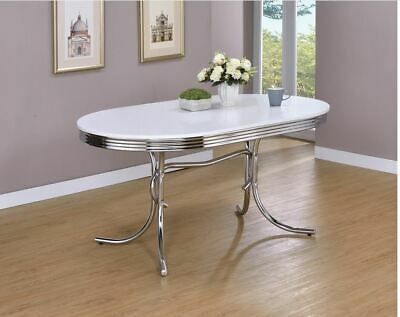 Retro Oval White Top Dining Table With Chrome Legs By Coaster 2065