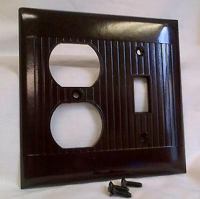 Vintage Sierra Ribbed Brown Bakelite Switch/Recepticle Combo Cover NOS NNB