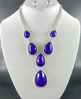 Royal Blue Faceted Lucite Tear Drop On Silver Tone Base Necklace Earring