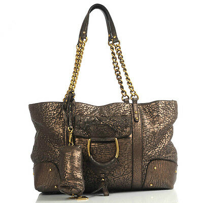 d85ce144291f AUTHENTIC DOLCE   Gabbana Bronze Metallic Disressed Leather Tote Bag ...