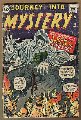 """Journey Into Mystery #77 - """"I Don't Believe in Ghost!"""" - 1961 - (Grade 2.0)WH"""
