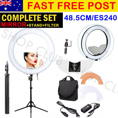 """New 19"""" 5800K Dimmable Diva LED Ring Light Diffuser MIRROR Stand Make Up Studio"""