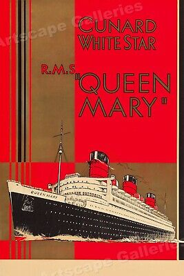 1936 Cunard White Star Queen Mary Vintage Style Travel Poster - 20x30