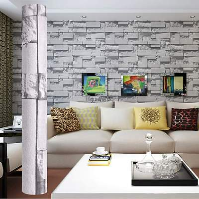 10M Relief Brick PVC Embossed Textured 3D Wallpaper Roll TV Background Decor