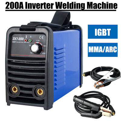 200A IGBT arc welder mma welding machine & welding helmet & 240V +3.2 welder rod
