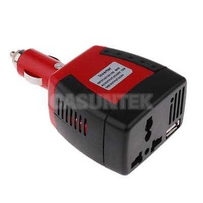 75W Car Charger Adapter DC 12V-AC 220V Power Converter W/ USB Port UK/EU/AU Plug