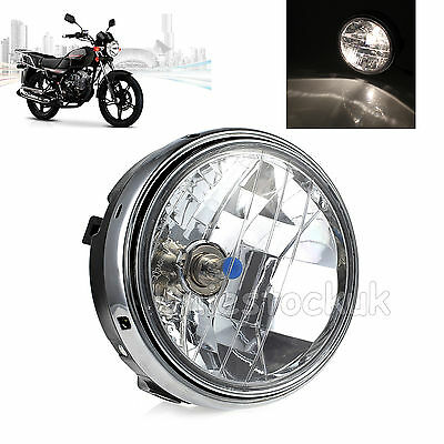 "12V 7"" Motorcycle Round Halogen H4 Bulb Headlight Headlamp Side Mount Style UK"
