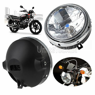2X 7 INCH Motorcycle bike Round Headlight Halogen H4 Bulb Head Lamp Side Mount