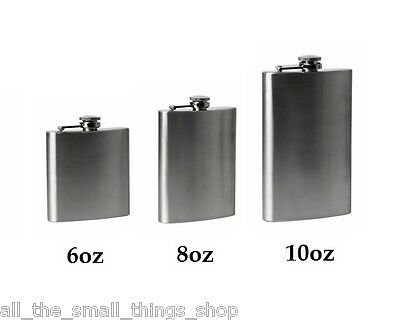Stainless Steel Silver Hip Flask Funnel Alcohol - 6Oz 8Oz 10Oz - Stocking Filler