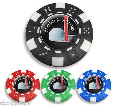 """"""" Hole In One """" Poker Chip Golf Ball Marker. Black."""