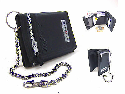 New Mens Boys Lorenz Trifold Sports Wallet Zip  And Chain Hook