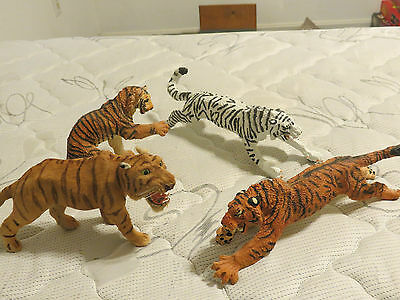 Rare Lot White Orange Tiger Collectible Cat Animal Decoration Figurine Statue