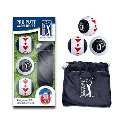 PGA TOUR Official Pro Putt Alignment Golf Balls - 3 Pack With FREE Training DVD