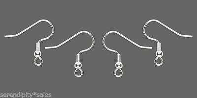 1000 SILVER Plated Stainless Steel Ear Wires Hooks w/ bead + coil  ~ 500 pairs