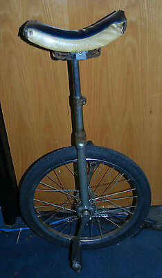 Vintage 1950's Unicycle With Original Blue Sparkle Banana Seat & Chair Pedals