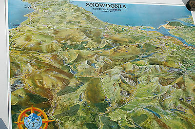 3D Aerial Panoramic Map of Northern Snowdonia No3 Unusual Gift Idea
