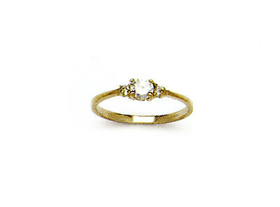 14k Yellow Gold White Round CZ Baby Ring Size 3