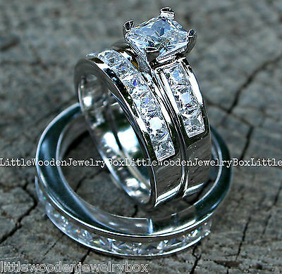 His and Hers 925 Sterling Silver 14k White Gold Engagement Wedding Ring Band Set