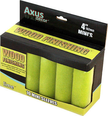 Axus Decor Wood Finishing Mini Roller Sleeve - Lime (Pack of 10)