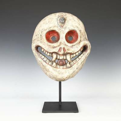 Vintage Citipati Or Death Mask Nepal Buddhism Shamanism Papier-Mache With Stand