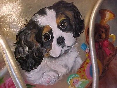 Final Clearance ! Cavalier King Charles & Santa  Handpainted Purse