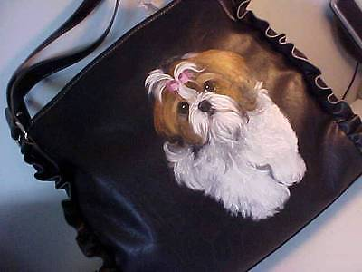 Final Clearance! Shih Tzu Handpainted Handbag New And Adorable!
